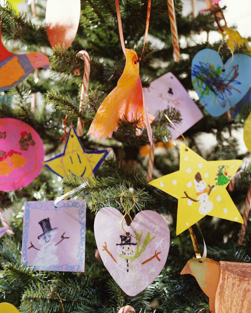 Christmas Ornaments Made by Children on Tree